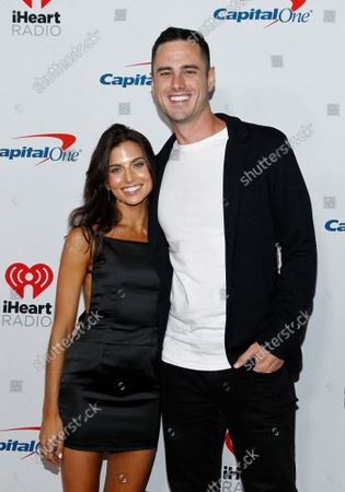Jessica Clarke and reality tv star Ben Higgins arrive for the iHeartRadio Music Festival at the T-Mobile Arena in Las Vegas, Nevada on Friday, September 20, 2019.