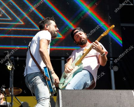 Matthew Ramsey and Brad Tursi of Old Dominion perform on stage during the iHeartRadio Music Festival Daytime Concerts at the Las Vegas Festival Grounds in Las Vegas, Nevada on Saturday, September 21, 2019.
