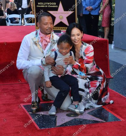 Actor Terrence Howard is joined by his wife  Mira Pak Howard and their son Qirin during an unveiling ceremony honoring him with the 2,674th star on the Hollywood Walk of Fame in Los Angeles on Tuesday, September 24, 2019.