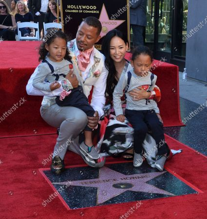 Actor Terrence Howard is joined by his wife  Mira Pak Howard and their sons Hero (L) and Qirin during an unveiling ceremony honoring him with the 2,674th star on the Hollywood Walk of Fame in Los Angeles on Tuesday, September 24, 2019.
