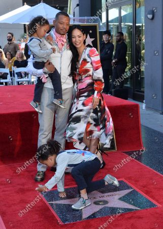 Actor Terrence Howard is joined by his wife Mira Pak Howard and their sons Hero Howard (L) and Qirin Howard during an unveiling ceremony honoring him with the 2,674th star on the Hollywood Walk of Fame in Los Angeles on Tuesday, September 24, 2019.