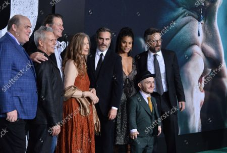 """Stock Image of Cast members Glenn Fleshler, Josh Pais, Brett Cullen, Frances Conroy, Joaquin Phoenix, Zazie Beetz, Leigh Gill and Marc Maron (L-R) attend the premiere of the motion picture thriller """"Joker"""" at the TCL Chinese Theatre in the Hollywood section of Los Angeles on Saturday, September 28, 2019. Storyline: Joker centers around an origin of the iconic arch nemesis and is an original, standalone story not seen before on the big screen. Todd Phillips' exploration of Arthur Fleck (Joaquin Phoenix), a man disregarded by society, is not only a gritty character study, but also a broader cautionary tale."""