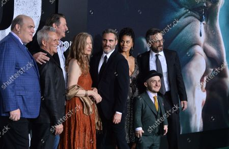 """Stock Photo of Cast members Glenn Fleshler, Josh Pais, Brett Cullen, Frances Conroy, Joaquin Phoenix, Zazie Beetz, Leigh Gill and Marc Maron (L-R) attend the premiere of the motion picture thriller """"Joker"""" at the TCL Chinese Theatre in the Hollywood section of Los Angeles on Saturday, September 28, 2019. Storyline: Joker centers around an origin of the iconic arch nemesis and is an original, standalone story not seen before on the big screen. Todd Phillips' exploration of Arthur Fleck (Joaquin Phoenix), a man disregarded by society, is not only a gritty character study, but also a broader cautionary tale."""