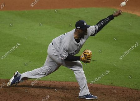 New York Yankees reliever CC Sabathia pitches to just one Houston Astros batter in the tenth inning of Game 2 of the American League Championship Series at Minute Maid Park in Houston, Texas on Sunday, October 13, 2019.  The Yankees lead the Astros 1-0 lead in the best of seven ALCS.