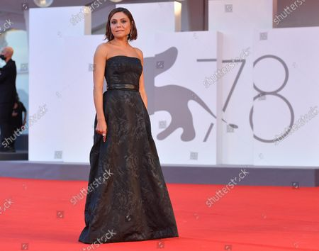 Antonia Truppo arrives for the premiere of 'Qui Rido Io' (The King of Laughter) during the 78th annual Venice International Film Festival, in Venice, Italy, 07 September 2021. The movie is presented in the official competition 'Venezia 78' at the festival running from 01 to 11 September.