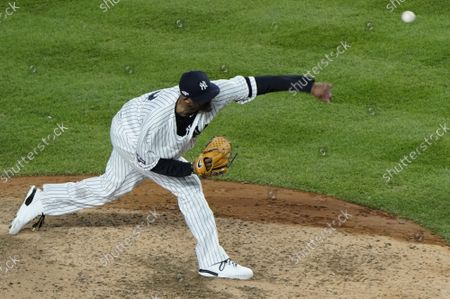 New York Yankees CC Sabathia pitches against the Houston Astros in the eighth inning of Game 4 of the American League Championship Series in the 2019 MLB Playoffs at Yankee Stadium in New York City on Thursday, October 17, 2019.