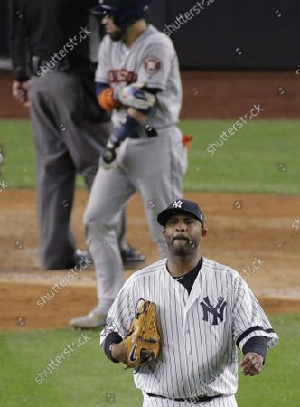 New York Yankees pitcher CC Sabathia reacts after hitting Houston Astros Robinson Chirinos in the eighth inning of Game 4 of the American League Championship Series in the 2019 MLB Playoffs at Yankee Stadium in New York City on Thursday, October 17, 2019.