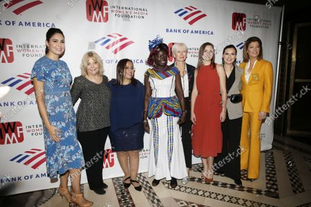 Cecilia Vega, Liz Sly, Lucia Pineda, Anna Nimiriano, Joanna Coles, Anna Babinets, Nastya Stanko and Norah O'Donnell arrive on the red carpet at The International Women's Media Foundation's 2019 Courage In Journalism Awards at Cipriani 42nd Street on Wednesday, October 30, 2019 in New York City.