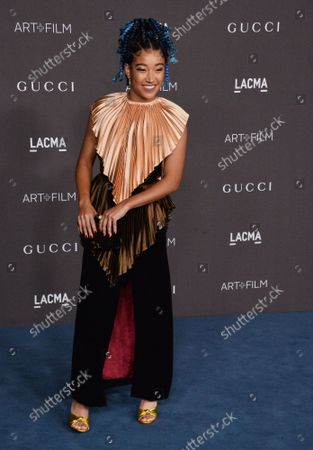 Amandla Stenberg attends the ninth annual LACMA Art+Film gala honoring Betye Saar and Alfonso Cuaron at the Los Angeles County Museum of Art in Los Angeles on Friday, November 2, 2019.