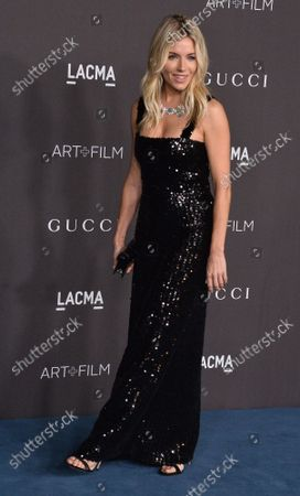 Actress Sienna Miller attends the ninth annual LACMA Art+Film gala honoring Betye Saar and Alfonso Cuaron at the Los Angeles County Museum of Art in Los Angeles on Friday, November 2, 2019.