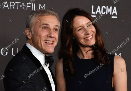 Actor Christoph Waltz and a guest attend the ninth annual LACMA Art+Film gala honoring Betye Saar and Alfonso Cuaron at the Los Angeles County Museum of Art in Los Angeles on Friday, November 2, 2019.