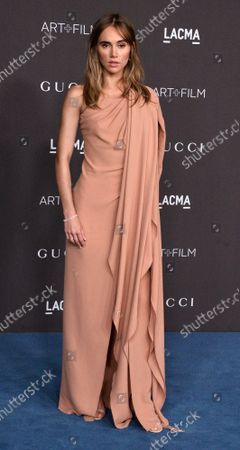 Suki Waterhouse attends the ninth annual LACMA Art+Film gala honoring Betye Saar and Alfonso Cuaron at the Los Angeles County Museum of Art in Los Angeles on Friday, November 2, 2019.