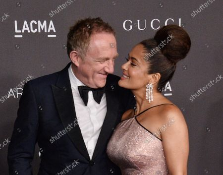 Actress Salma Hayek and her husband, French businessman Fran�ois-Henri Pinault attend the ninth annual LACMA Art+Film gala honoring Betye Saar and Alfonso Cuaron at the Los Angeles County Museum of Art in Los Angeles on Friday, November 2, 2019.