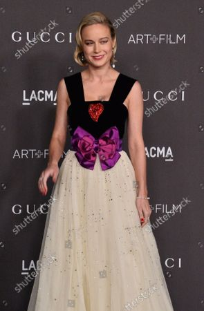 Actress Brie Larson attends the ninth annual LACMA Art+Film gala honoring Betye Saar and Alfonso Cuaron at the Los Angeles County Museum of Art in Los Angeles on Friday, November 2, 2019.