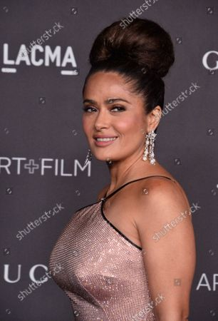 Actress Salma Hayek attends the ninth annual LACMA Art+Film gala honoring Betye Saar and Alfonso Cuaron at the Los Angeles County Museum of Art in Los Angeles on Friday, November 2, 2019.