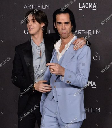 Stock Photo of Earl Cave and Nick Cave (R) attend the ninth annual LACMA Art+Film gala honoring Betye Saar and Alfonso Cuaron at the Los Angeles County Museum of Art in Los Angeles on Friday, November 2, 2019.
