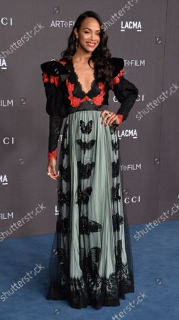 Zoe Saldana attends the ninth annual LACMA Art+Film gala honoring Betye Saar and Alfonso Cuaron at the Los Angeles County Museum of Art in Los Angeles on Friday, November 2, 2019.