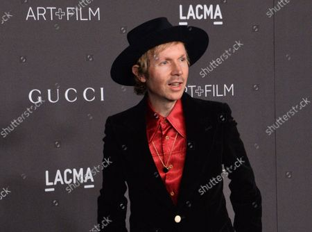 Stock Picture of Musician Beck attends the ninth annual LACMA Art+Film gala honoring Betye Saar and Alfonso Cuaron at the Los Angeles County Museum of Art in Los Angeles on Friday, November 2, 2019.