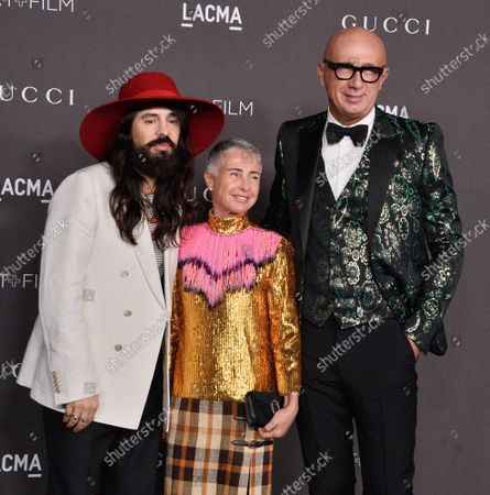 Alessandro Michele, Maristella Levoni and Marco Bizzarri (L-R) attend the ninth annual LACMA Art+Film gala honoring Betye Saar and Alfonso Cuaron at the Los Angeles County Museum of Art in Los Angeles on Friday, November 2, 2019.