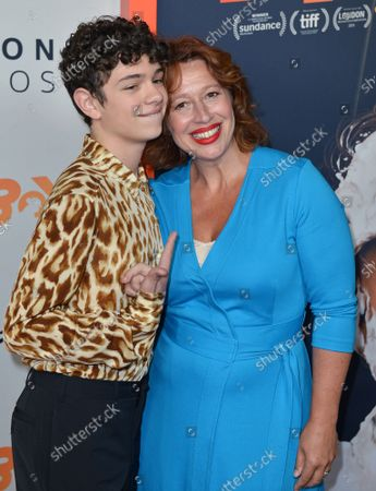 Noah Jupe (L) and Katy Cavanagh arrive for the premiere of 'Honey Boy' at the ArcLight Hollywood Cinerama Dome in Los Angeles, California on Tuesday, November 5, 2019.