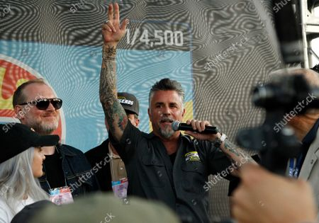 Entepreneur and tv star Richard Rawlings takes to the microphone to introduce himself to the audience at the HotWheels booth during the 2019 SEMA Show, at the Las Vegas Convention center in Las Vegas, Nevada, on Tuesday, November 5, 2019.