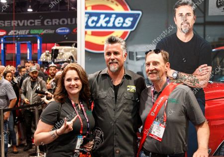Stock Image of Reality tv star Richard Rawlings (center) attends a meet and greet with fans at the Dickies booth during the 2019 SEMA Show, at the Las Vegas Convention center in Las Vegas, Nevada, on Tuesday, November 5, 2019.