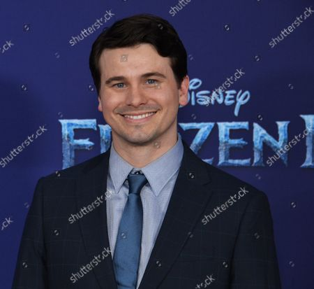 """Cast member Jason Ritter attends the premiere of the animated musical comedy """"Frozen II"""" premiere at the Dolby Theatre in the Hollywood section of Los Angeles on Thursday, November 7, 2019. Storyline: Anna, Elsa, Kristoff, Olaf and Sven leave Arendelle to travel to an ancient, autumn-bound forest of an enchanted land. They set out to find the origin of Elsa's powers in order to save their kingdom."""