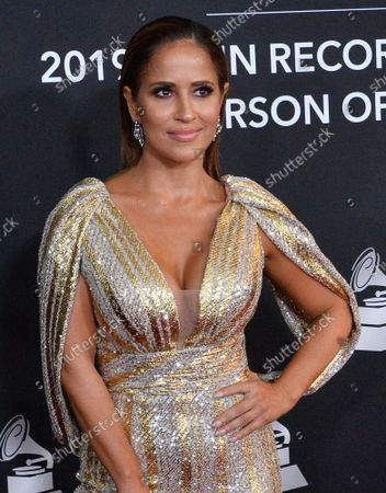 TV personality Jackie Guerrido arrives for the Latin Grammy Person of the Year gala honoring Columbian singer Juanes at the MGM Grand Convention Center in Las Vegas, Nevada on Wednesday, November 13, 2019.
