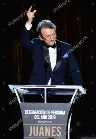 President & CEO of The Latin Academy of Recording Arts & Sciences Gabriel Abaroa speaks onstage at the Latin Grammy Person of the Year gala honoring Columbian singer Juanes at the MGM Grand Convention Center in Las Vegas, Nevada on Wednesday, November 13, 2019.