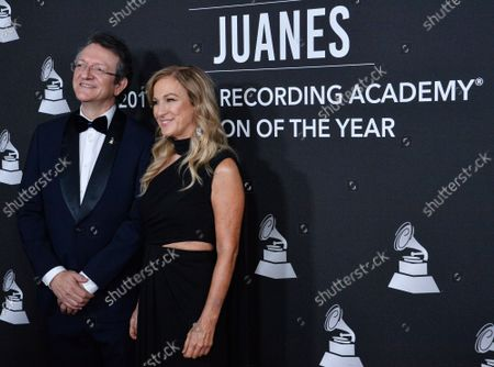 President & CEO of The Latin Academy of Recording Arts & Sciences Gabriel Abaroa, and President & CEO of The Recording Academy Deborah Dugan arrive for the Latin Grammy Person of the Year gala honoring Columbian singer Juanes at the MGM Grand Convention Center in Las Vegas, Nevada on Wednesday, November 13, 2019.