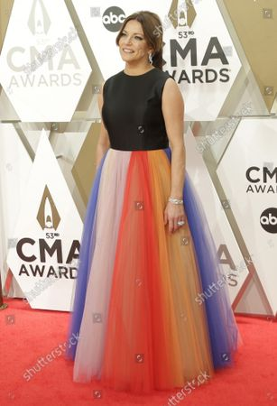 Martina McBride arrives for the 52nd Annual Country Music Association Awards at Bridgestone Arena in Nashville, Tennessee Wednesday, November 13, 2019.