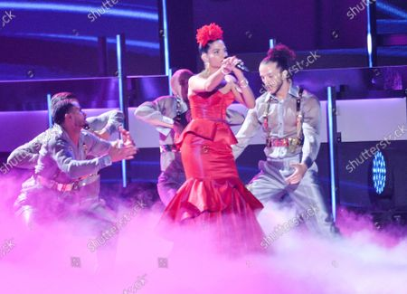 """Natalia Jimenez performs """"Secreto de Amor""""onstage during the 20th annual Latin Grammy Awards honoring Columbian singer Juanes at the MGM Grand Convention Center in Las Vegas, Nevada on Thursday, November 14, 2019."""