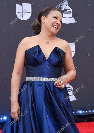 Stock Photo of Singer Milly Quezada arrives on the red carpet for the 20th annual Latin Grammy Awards honoring Columbian singer Juanes at the MGM Grand Convention Center in Las Vegas, Nevada on Thursday, November 14, 2019.