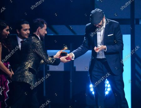 Juan Luis Guerra accepts Best Tropical Fusion Album award onstage during the 20th annual Latin Grammy Awards honoring Columbian singer Juanes at the MGM Grand Convention Center in Las Vegas, Nevada on Thursday, November 14, 2019.