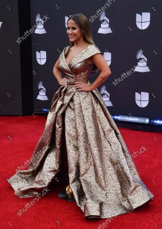 Stock Photo of TV personality Jackie Guerrido arrives on the red carpet for the 20th annual Latin Grammy Awards honoring Columbian singer Juanes at the MGM Grand Convention Center in Las Vegas, Nevada on Thursday, November 14, 2019.