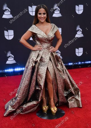 TV personality Jackie Guerrido arrives on the red carpet for the 20th annual Latin Grammy Awards honoring Columbian singer Juanes at the MGM Grand Convention Center in Las Vegas, Nevada on Thursday, November 14, 2019.