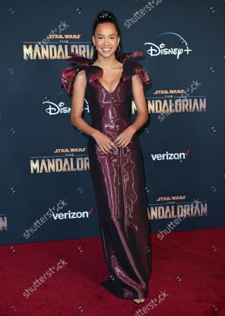 Sofia Wylie arrives for the premiere of Disney+'s 'The Mandalorian' at the El Capitan Theatre in Los Angeles, California on Wednesday, November 13, 2019.