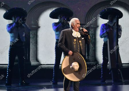 """Vicente Fernandez performs a medley of """"Te Amare, Caballero, Derrota & Volver Volver"""" onstage during the 20th annual Latin Grammy Awards honoring Columbian singer Juanes at the MGM Grand Convention Center in Las Vegas, Nevada on Thursday, November 14, 2019."""