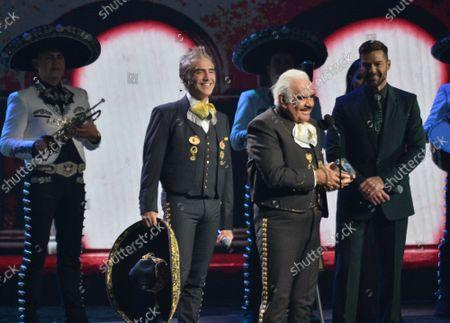 Vicente Fernandez receives the Premio de la Presidencia award during the 20th annual Latin Grammy Awards honoring Columbian singer Juanes at the MGM Grand Convention Center in Las Vegas, Nevada on Thursday, November 14, 2019.