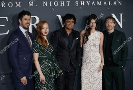 """Toby Kebbell, Lauren Ambrose, M. Night Shyamalan, Nell Tiger Free and Rupert Grint arrives on the red carpet at the world premiere of Apple TV+'s """"Servant"""" at BAM Howard Gilman Opera House on Tuesday, November 19, 2019 in New York City."""