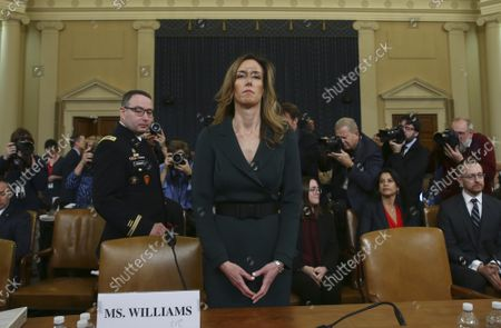 State Department official and advisor to Vice President Mike Pence Jennifer Williams prepares to testify before the House Permanent Select Committee on Intelligence as part of the impeachment inquiry into President Donald Trump, on Capitol Hill in Washington, DC, on Tuesday, November 19, 2019.  The hearings are looking into whether Trump used military aid as leverage to pressure Ukraine into investigations that would benefit him politically.
