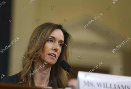 State Department official and advisor to Vice President Mike Pence Jennifer Williams testifies before the House Permanent Select Committee on Intelligence as part of the impeachment inquiry into President Donald Trump, on Capitol Hill in Washington, DC, on Tuesday, November 19, 2019.  The hearings are looking into whether Trump used military aid as leverage to pressure Ukraine into investigations that would benefit him politically.
