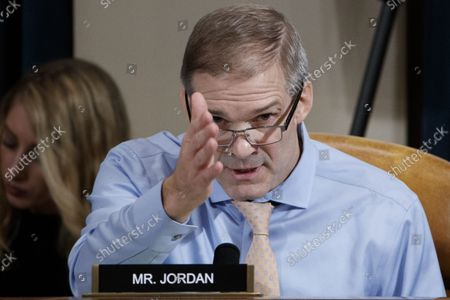 Republican Representative from Ohio Jim Jordan questions Special Advisor for Europe and Russia in the office of US Vice President Mike Pence, Jennifer Williams and Director for European Affairs of the National Security Council, US Army Lieutenant Colonel Alexander Vindman during the House Permanent Select Committee on Intelligence public hearing on the impeachment inquiry into US President Donald J. Trump, on Capitol Hill in Washington, DC, USA, 19 November 2019.