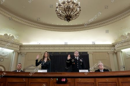 Lt. Col. Alexander Vindman (R), National Security Council Director for European Affairs and Jennifer Williams (L), adviser to Vice President Mike Pence for European and Russian affairs, are sworn in prior to testifying before the House Intelligence Committee in the Longworth House Office Building on Capitol Hill November 19, 2019 in Washington, DC.