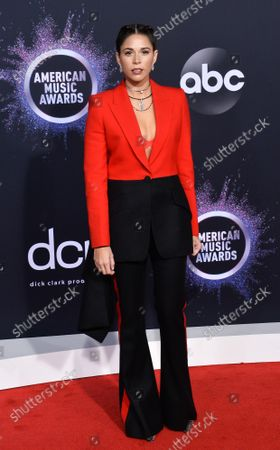 Songwriter Ali Tamposi arrives for the 47th annual American Music Awards at the Microsoft Theater in Los Angeles on Sunday, November 24, 2019.