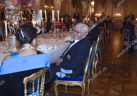 Sweden's foreign Minister Ann Linde (L) at the table with German President Frank-Walter Steinmeier during the State Banquet at the Royal Palace in Stockholm, Sweden, on Sept. 07 2021. The German presidential couple arrived in Sweden on Tuesday for a three-day state visit.,