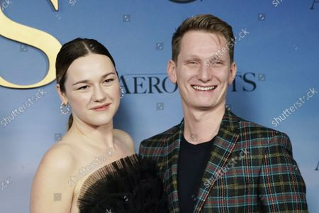 """Stock Picture of Tom Harper and Georgina Harper arrives on the red carpet at """"The Aeronauts"""" New York Premiere at SVA Theater on Wednesday, December 04, 2019 in New York City."""
