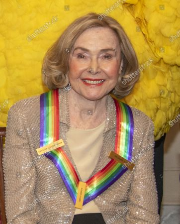 Stock Image of Sesame Street co-founder Joan Ganz Cooney, one of the recipients of the 42nd Annual Kennedy Center Honors poses as part of a group photo following a dinner at the United States Department of State in Washington, D.C. on Saturday, December 7, 2019.  The 2019 honorees are: Earth, Wind & Fire, Sally Field, Linda Ronstadt, Sesame Street, and Michael Tilson Thomas.