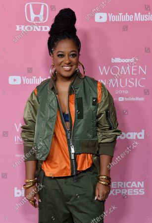 Rapper Rapsody arrives for the 14th annual Billboard Women in Music event at the Hollywood Palladium in Los Angeles on Thursday, December 12, 2019. Taylor Swift became the first-ever recipient of Billboard's Woman of the Decade Award. Alanis Morissette, Nicki Minaj, Brandi Carlile and Roc Nation chief operating officer Desiree Perez were also honored at the gathering.