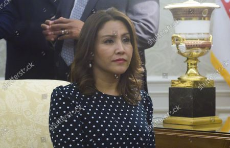 Mrs. Hilda Patricia Marroquín Argueta de Morales of the Republic of Guatemala looks on as United States President Donald J. Trump and First lady Melania Trump welcome she and President Jimmy Morales to the Oval Office of the White House in Washington, DC on Tuesday, December 17, 2019.